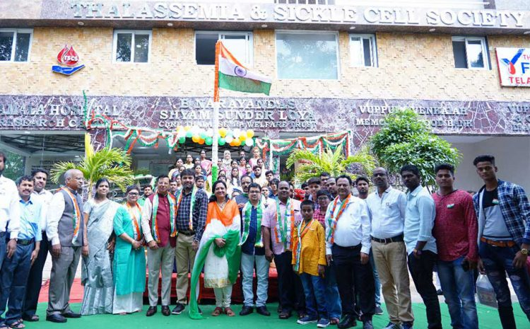 The Tricolour is hoisted by Mr Chandrakant Agarwal, President during the 73rd Independence Day.