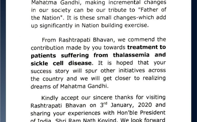 Mrs Ratnavali K, Vice President TSCS was received award and letter from Rashtrapati Bhavani for her selfless services to thalassemia patients.