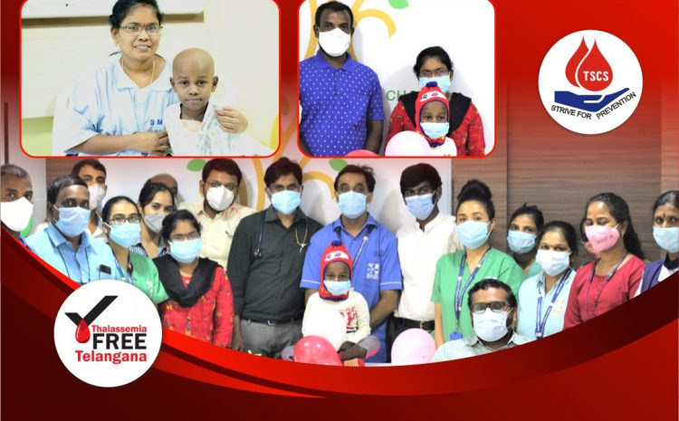 The first child gets discharged post-BMT at the new Bangalore transplant center. Hidden behind these masks are many smiles.
